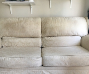Cream Three Seater Sofa Bed