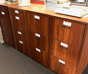 4 x three drawer filing cabinets - office or home use