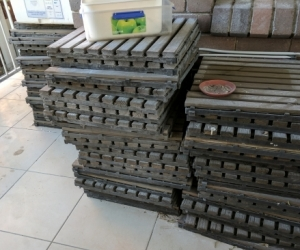 Wood slatted decking tiles