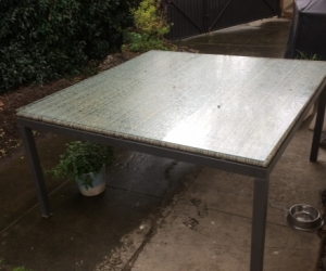 Glass top exterior table