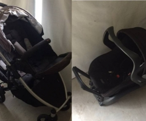 Double stroller / pram with accompanying car capsule