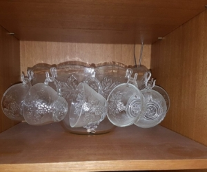 Punch Bowl set complete with glasses and hooks