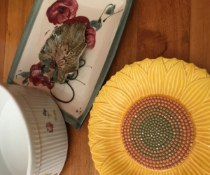 2 Platters and a serving bowl and frog wall hanging