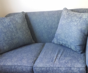 Blue 2 seater Freedom couch jacquard type fabric