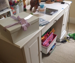 Desk - Ikea 'Liatorp' in white with two cupboards and a draw