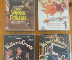 VHS tapes of Wallace and Grommet. Pick up Blackburn