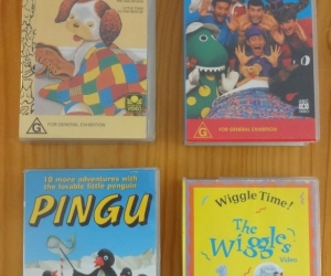VHS tapes for preschoolers: Wiggles, Pingu, Poky Little Puppy