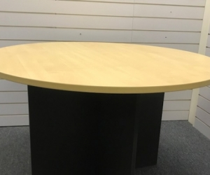 1.2 metre Diameter, Round, Bitch Top Table with Black  Solid X Legs.