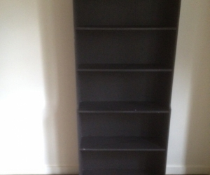 three small bookshelves