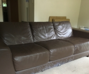 3 seater brown leather couch FREE