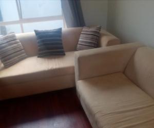 2 cream sofas great condition
