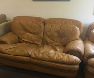 3 piece tan leather lounge suite