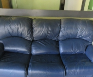 3 seater blue leather couch Dendi
