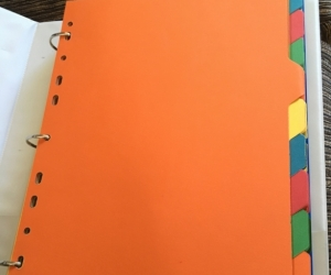 Coloured tab dividers for folders