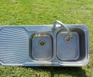 Stainless Steel double sink with flick-mixer tap