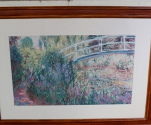 Monet print with timber frame, mat board and glass