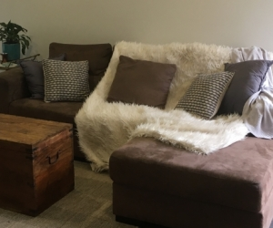 Free brown couch 3 seater chaise sofa