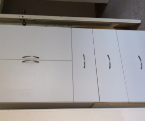 Sturdy custom made cabinet roughly 1.6m ×0.6m × 0.6m