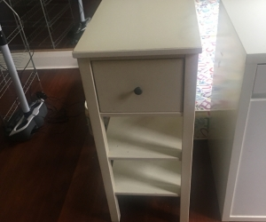 Desk, bedside table and single mattress