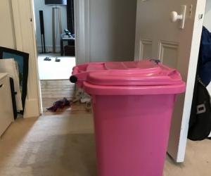 Toy storage - pink wheelie bin