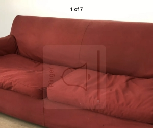 Large red sofa bed settee lounge couch 3 seat