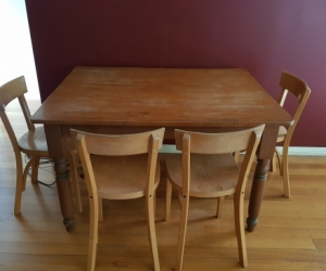 Antique table (base) with chairs