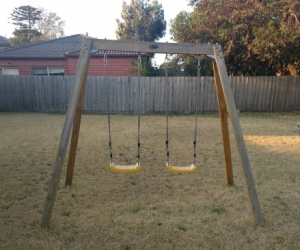Double Wooden Timber Swing