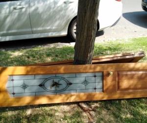 Stain glass kookaburra in door