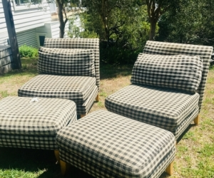 TWO CHAIRS AND MATCHING OTTOMANS