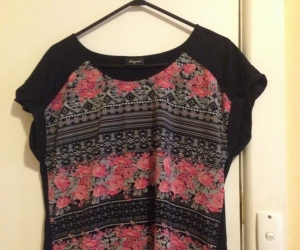 Pink&Black floral top size 12