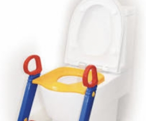 Toddler toilet seat with step
