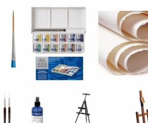 Water Colour related Art Supplies, paints, brushes, easels