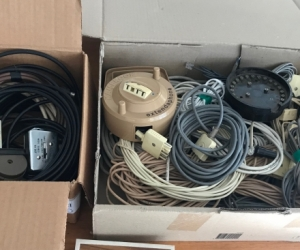 Bulk Lot assorted antennas, switches, cables, spliters, plugs, telephone cables, + a door chime