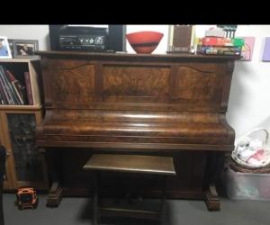 Hand-restored pianola, stool and scrolls