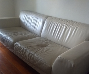 Beige leather lounge or sofa