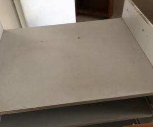 old fashioned computer desk slide out shelf for key board grey