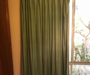 Two full length curtains 2 soft pattern teal colour block out