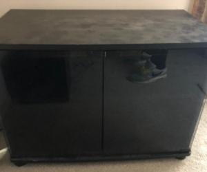 TV cabinet black glass doors