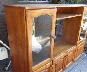 Old style TV cabinet pine with 2  glass doors