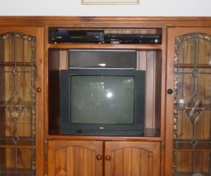 Cabinet with lead light panels