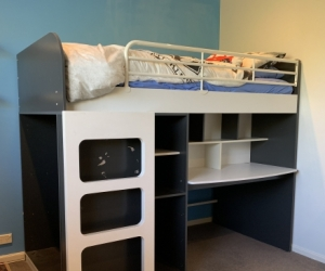 Loft bed with desk, drawers and cupboard
