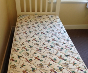 Single bed and mattress - white timber
