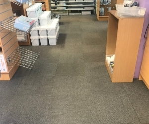 Grey striped Carpet Tiles over 100 sqm Northmead location