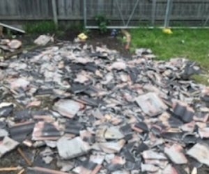 4 heaps of broken Concrete Roof Tiles useful as Concrete Aggregate