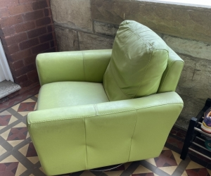 3 and 2 seat leather lounges and 1 leather swivel chair