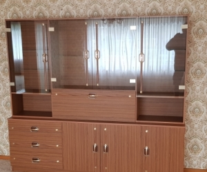 Brown Wall Unit/ Glass Cabinet