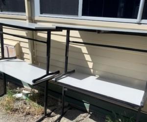 Adjustable student tables black frame good condition