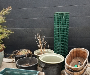 Garden pots, planter boxes and plastic chicken wire