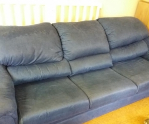 big  blue sofa-bed couch - super roomy & comfy as sofa or bed!