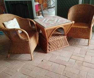 Cane  table & 2 chairs
